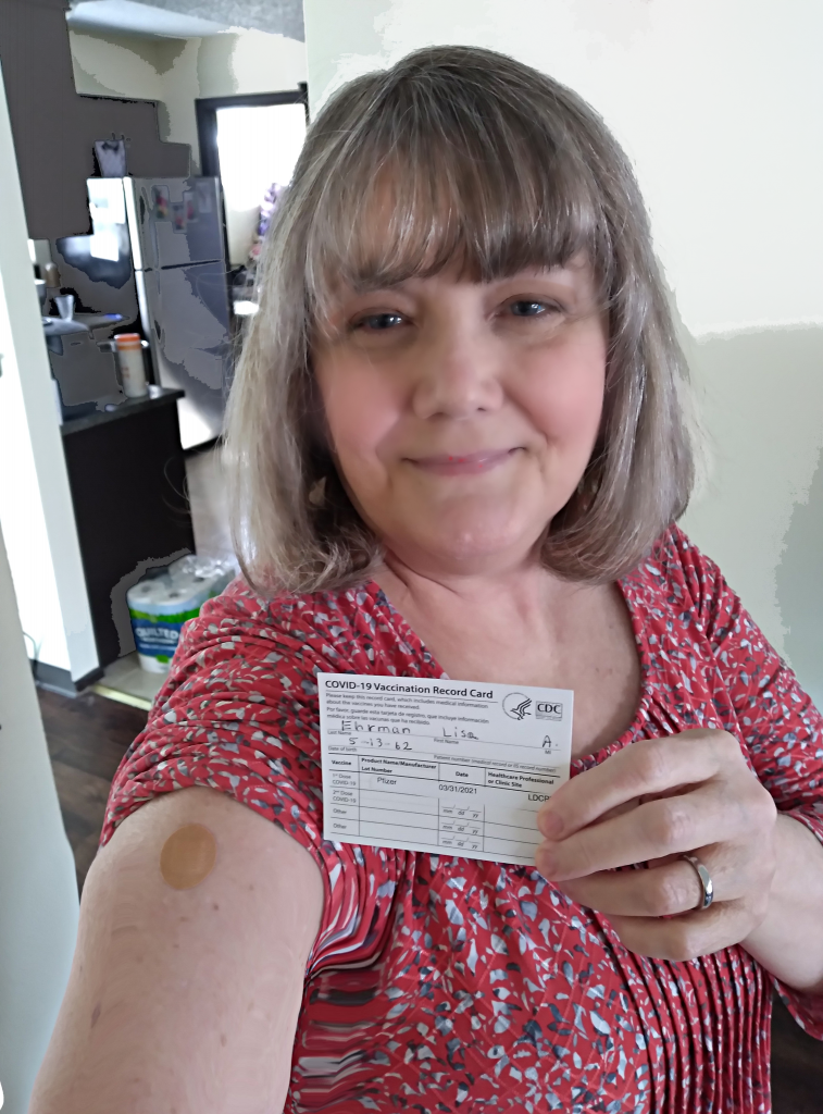 Lisa with Vaccine Card